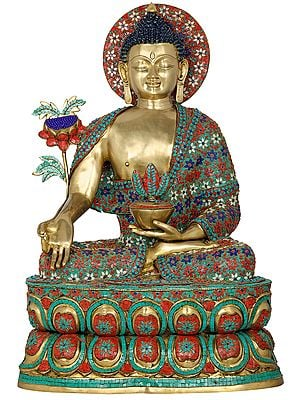 Large Inlay Medicine Buddha in Meditation - Tibetan Buddhist Deity