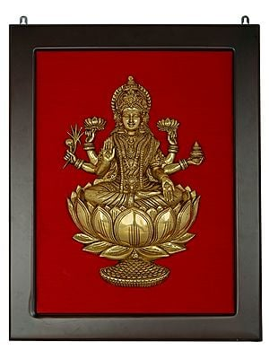 Dhanalakshmi Seated on a Lotus Wall Hanging with Frame