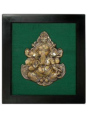 Lord Ganesha in Aashirwad Mudra Wall Hanging with Frame