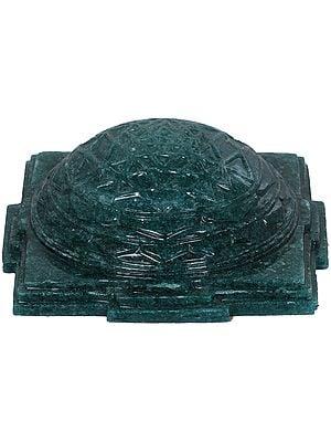 Carved Shri Yantra in Jade Aventurine