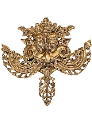 Kirtimukha Wall Hanging with Stylized Protruding Fangs