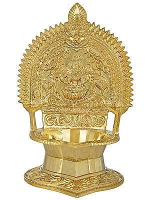 Goddess Linga Bhairavi with Two Elephants Oil Lamp