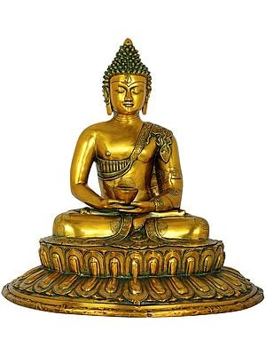 Dhyana Mudra Buddha Seated on Lotus Pedestal