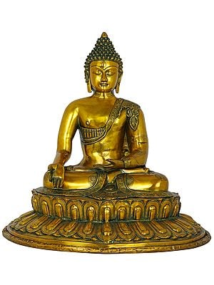 Meditating Buddha Seated on Lotus Pedestal