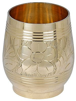 Brass Glass with Flower Design