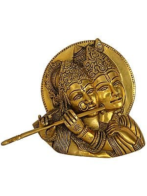 Radha Playing Flute with Krishna Wall Hanging