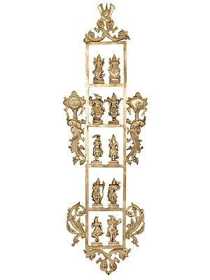 Vertical Dashavatara Panel with Three Vaishnava Symbols (Wall Hanging in Hoysala Art)