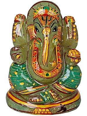 Tiny Ganesha in Jade Aventurine
