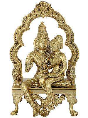 Vishnu-Lakshmi Seated On A Hoysala Throne