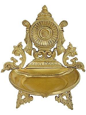 Vaishnava Chakra Puja Lamp (Hoysala Art)