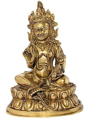 Tibetan Buddhist Kubera Seated on Lotus Pedestal