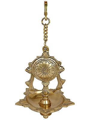 Vaishnava Chakra Hanging Five Wicks Lamp (Hoysala Art)