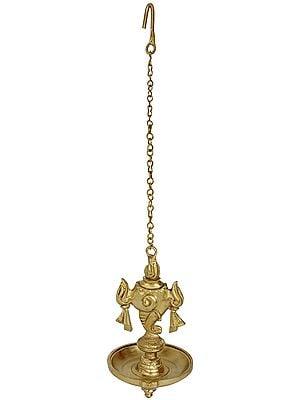 Vaishnava Conch Hanging Wick Lamp (Hoysala Art)