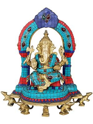 Enthroned Ganesha on Five Rats (Inlay Statue)
