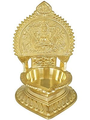 Goddess Gajalakshmi Seated on Lotus Large Oil Lamp