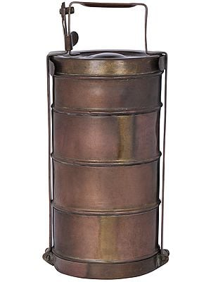 Traditional Brass Four Compartment Tiffin Box
