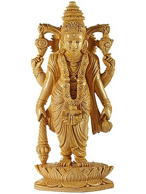 Chaturbhuja Vishnu Standing on a Boat Shaped Lotus