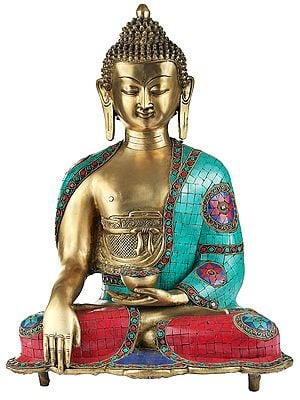 Bhumisparsha Medicine Buddha With Inlay Work