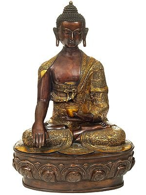 Bitone Buddha Seated On A Gigantic Lotus Bloom Throne