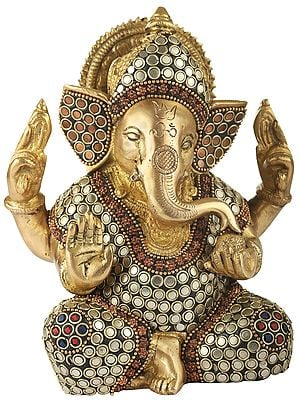 Lord Ganesha with Inlay Stone Work