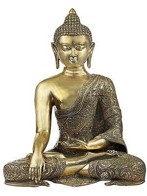 Lord Buddha Adorned in Ashtamangala Robe
