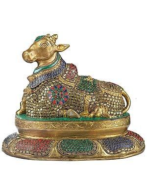 Beautiful Inlayed Nandi Seated on a Lotus Plinth
