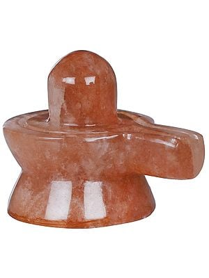 Small Shiva Linga Carved in Pink Gemstone