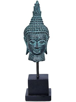 Coppery Finish Buddha Head On Angular Wooden Stand