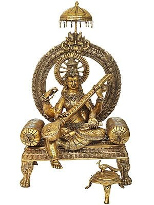Large Maa Saraswati Enthroned on a kirtimukha Prabhavali and Parasol Atop