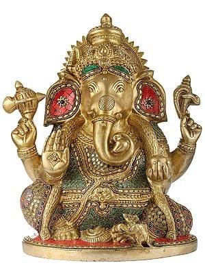 Four Armed Blessing Lord Ganesha (Inlay Stone Work)