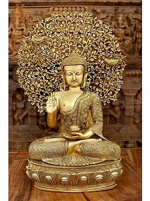 Seated Shut-Eyed Buddha Afore A Bodhi Tree Aureole