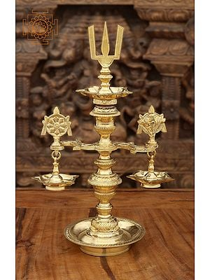 Superfine Conch, Chakra and Trident Wick Lamps (Vaishnava Lamps)