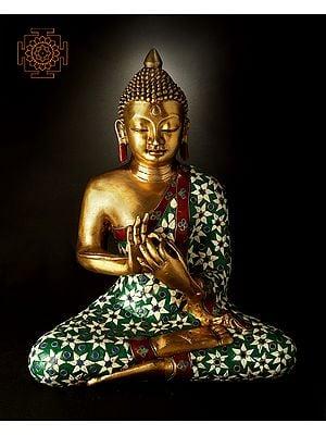 Inlayed Lord Buddha in Dharmachakra Mudra