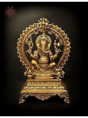 Four Armed Lord Ganesha Seated on Throne