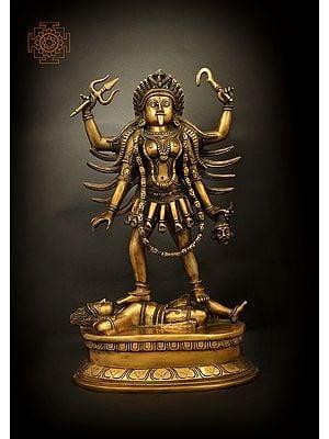 Four Armed Goddess Kali Standing On Lord Shiva