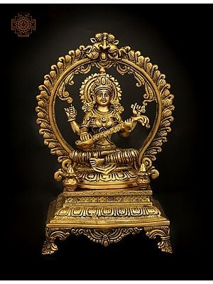 Four Armed Goddess Saraswati Seated on Throne