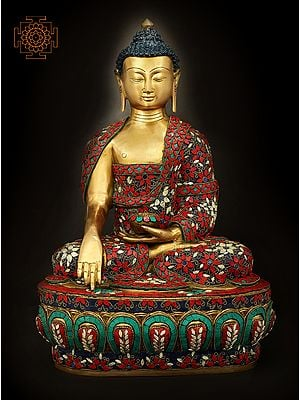 Robed Buddha, His Hand In The Bhoomisparsha Mudra