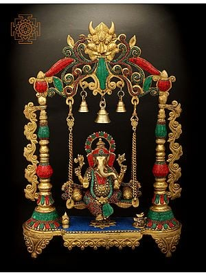 Swinging Lord Ganesha With Fine Inlay Stone Work