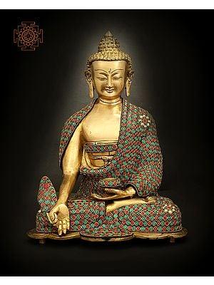 Medicine Lord Buddha With Ring Inlay Work