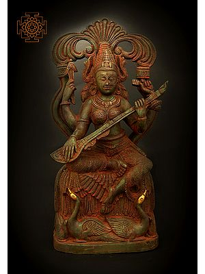Divine Goddess Saraswati Playing Veena With Two Swans