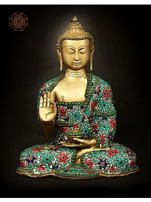 Shakyamuni Buddha With Floral Inlay Stone Work