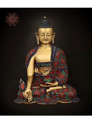 Medicine Lord Buddha in Dhyan Mudra With Inlay Work