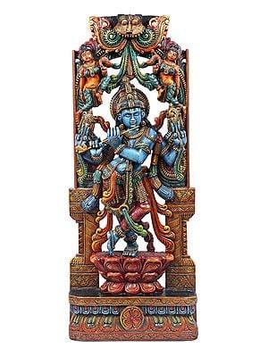 Lord Krishna Playing Flute On Lotus Pedestal