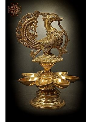 Peacock Oil Lamp With Seven Wick