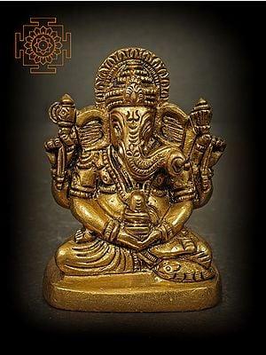 Small Ganesha in Shiva Sadhana Holding a Shiva Linga