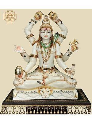 Superfine Gold Treasured Shadbhujadhari Shiva