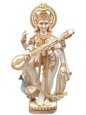 "39"" Gold Embellished Goddess Saraswati on Her Vahana | White Marble | Handmade | Made In India"