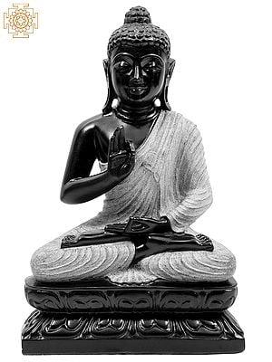 Bitone Dharmachakra Buddha In A Textured, White Robe