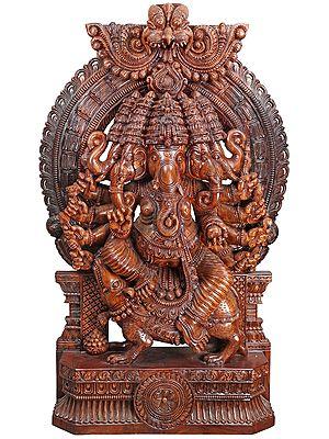 Large Superfine Panchamukhi Ganesha Seated on a Mouse