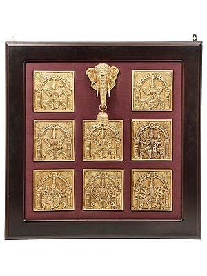Discrete Ashtalakshmi Panel With Miniscule Ganesha-Head (Framed)